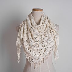 Triangle Scarf with Beadings by hupoworkshop