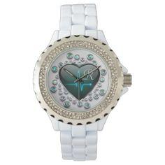 Tandem, Nursing Accessories, Nurse Gifts, Black Heart, White Enamel, Blue And Silver, Michael Kors Watch, Bracelet Watch, Quartz