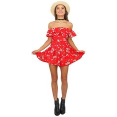 Gorgeous Red Flower Print Ruffle Pleated Women Rompers