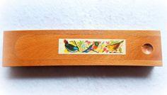 Vintage-Wood-Pencil-case-ASTUCCIO-Portapenne-Portamatite-LEGNO-1960-Uccelli-Bird