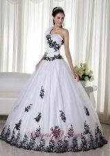 White Ball Gown One Shoulder Floor-length Taffeta and Organza Embroidery Quinceanera Dress Pretty