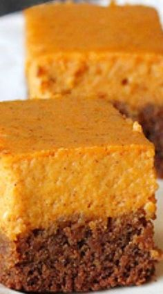Gingersnap Pumpkin Pie Bars ~ So easy, made with ginger snap cookie dough mix! [I would use half the cookie dough, it was a thick crust, I also overbaked it. add a dollop of cool whip for looks. Mini Desserts, Fall Desserts, Just Desserts, Delicious Desserts, Dessert Recipes, Picnic Recipes, Picnic Ideas, Picnic Foods, Plated Desserts