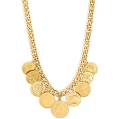 Ben-Amun Women's Gold Coins Necklace - Gold (2,995 MXN) ❤ liked on Polyvore featuring jewelry, necklaces, gold, lobster clasp necklace, gold jewelry, ben amun necklace, gold coin jewelry and ben amun jewelry