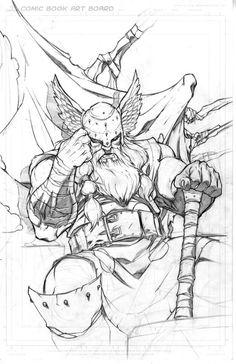 thorr by MiaCabrera on DeviantArt Comic Book Artists, Comic Book Characters, Comic Books Art, Comic Art, Drawing Sketches, Art Drawings, Viking Art, Tatoo Art, Viking Tattoos