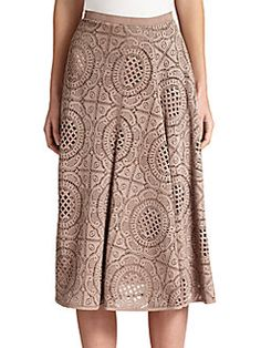 Burberry - Laser-Cut Suede Skirt