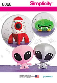 These outer space themed stuffed crafts features a rocket ship, space monster, and alien. For an extra cuddly pal, make space monster in colorful faux fur. DIY Fluffies for Simplicity.