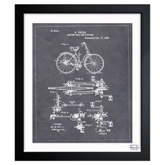 Bicycle blueprint inspired by vintage patent drawings in a black wood frame.  Product: Framed printConstruction Mate...