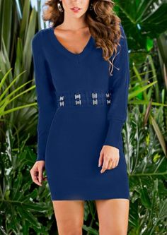 VESTIDO ESCOTE EN V Dresses With Sleeves, Long Sleeve, Fashion, Vestidos, Shoe Collection, Plunging Neckline, Moda, Sleeve Dresses, Long Dress Patterns