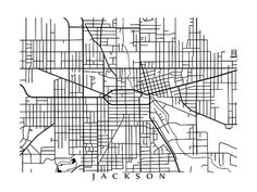 Jackson Map Print Michigan Poster by CartoCreative on Etsy