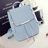 Wish | Fashion PU Leather Backpack School Bag Student Backpack Women Travel Bag Light Blue (UK Stock)