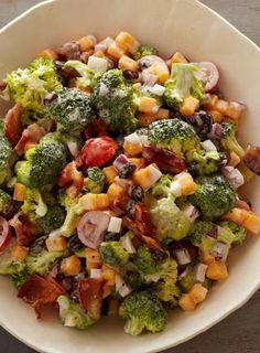 The best part of this creamy broccoli salad is that it's only 107 calories!