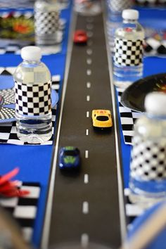 Racetrack table runner from a Race Car birthday party at Kara's Party Ideas - Kindergeburtstag - Birthday Hot Wheels Party, Hot Wheels Birthday, Race Car Birthday, Disney Cars Birthday, 3rd Birthday, Disney Cars Party, Birthday Table, Birthday Design, Birthday Ideas