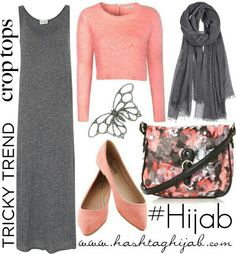 Hashtag Hijab Outfit - jersey dress with short cardigan on tops . Super cute with floral scarf Islamic Fashion, Muslim Fashion, Modest Fashion, Hijab Fashion, Fashion Outfits, Trend Fashion, Look Fashion, Fashion Brand, Hijab Outfit
