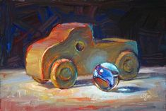 """Toy Wood Truck and Marble"" - Original Fine Art for Sale - © Raymond Logan"