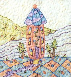 Periwinkle Lane - Block 8 Embroidery Pattern by Black Cat Creations - Jackie Theriot. BOM embroidery and crayon pattern of a three story house with trees. Hungarian Embroidery, Embroidery Sampler, Embroidery Patterns Free, Hand Embroidery Designs, Vintage Embroidery, Quilt Patterns, Sewing Patterns, Oil Pastel Crayons, Fabric Painting