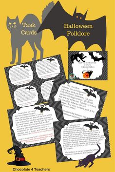 There's nothing batty about these non-fiction task cards! Informational text covers several standards and Halloween traditions and history.