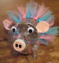 I made this from the large Ice Mtn water bottle & I used 4 small hand sanitizer bottles for the legs. A great way to recycle the bottle & have fun with the kids. Easy Crafts For Kids, Diy For Kids, Homemade Piggy Banks, Pig Crafts, Vbs Themes, Plastic Bottle Crafts, Playing Dice, Playing Games, Ways To Recycle