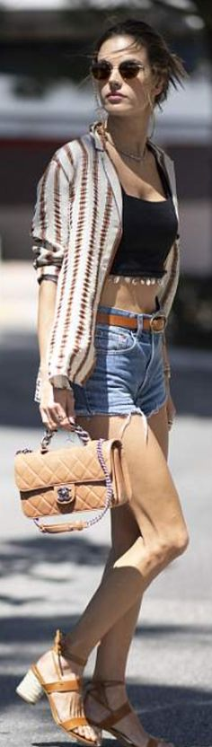 Who made  Alessandra Ambrosio's gold jewelry, sunglasses, denim shots, tan handbag, and brown lace up sandals?