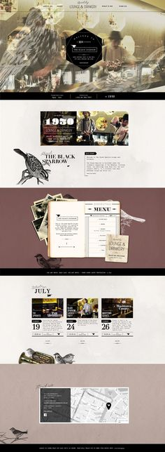 Unique Web Design, The Black Sparrow @clashingspirals #WebDesign #Design (http://www.pinterest.com/aldenchong/)