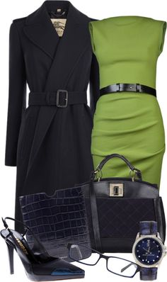 """Yellow green dress in DarkBlue"" by gangdise ❤ liked on Polyvore.  LOVE the dress and the heels!"
