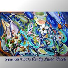 Eden Flowers-Buy vibrant colorful american fine art. Made in Minnesota USA. High quality oil painting on large canvas for sale. www.artbyluizavizoli.com