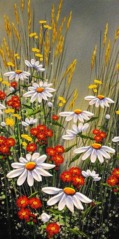 Summer Colours - original painting by Jordan Hicks at Crescent Hill Gallery Sommerfarben - ursprüngl Arte Floral, Watercolor Paintings, Original Paintings, Landscape Paintings, Fence Art, Acrylic Art, Pictures To Paint, Painting & Drawing, Daisy Painting