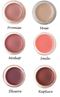 Lip and cheek colors that are available in 6 shades and cost $36 each. Non-toxic, too (http://www.ewg.org/skindeep/product/201193/rms_beauty_Lip2Cheek_Modest/)