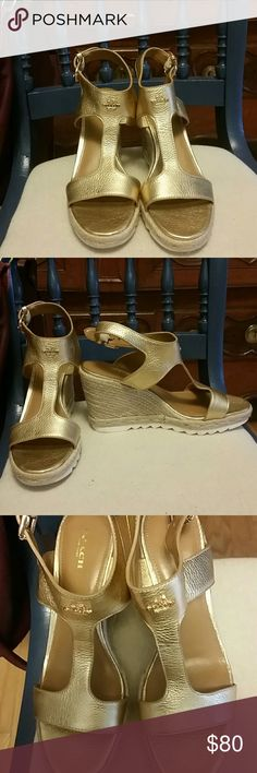 Coach Leeanne gold leather sandals 9 M NEW Gorgeous gold leather wedges by Coach. NEW! size 9 m Coach  Shoes Wedges