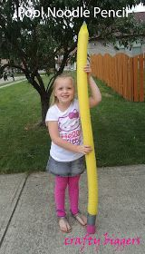 Giant pencil created out of a pool noodle. This would be a great decoration for Workshop of Wonders VBS 2014 #firstpresorangeburgvbs