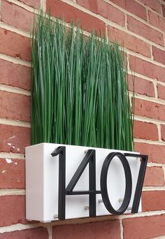 Modern Potted Plant Address Plaque by CelebrateTheMemories