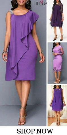 Shop Liligal for all your spring summer holiday wardrobe needs and find an elegant purple chiffon dress with lace panel, sleeveless, and overlay details, that' Mode Outfits, Dress Outfits, Fashion Outfits, Elegant Dresses, Casual Dresses, Latest African Fashion Dresses, Classy Dress, Purple Dress, Dress Patterns