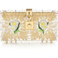 Dolce & Gabbana Box embellished Perspex clutch (€2.865) ❤ liked on Polyvore featuring bags, handbags, clutches, gold, flower handbags, clear clutches, flower print handbags, dolce gabbana purses and white purse