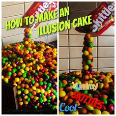 Illusion skittles cake!!!!! If you want to see how I made my cake comment below!!its with chocolate and biscuits !!!!!!:):):):):) Things you'll need : Skittl...