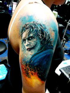 "Coringa! Por Adam Kremer (via facebook/Tattoo Tatuagem) ""Heath Leger"" -the true joker ...et nuc et sempre"