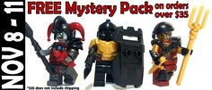 We just restocked a bunch of items in black, including the following: Scaled Galerus' Greaves Vambraces Iklwas Riot Shields Plus, all orders over $35 get a FREE Mystery Pack* now through midnight on Monday EST. #custom #Lego #accessories #minifigures #brickwarriors #guns #weapons #armor #helmets #free #mysterypacks #Friday #Christmas