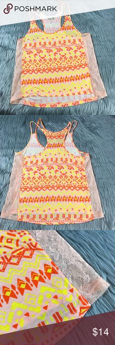 "Kirra Bright Tank Orange Yellow Summer Festival Hi-low Spaghetti Strap tank Peach colored lace sides Chest: 28"" (14"" flat) Length: ~20"" Smoke free home Pet friendly *Check out my other items!* 🌺 Kirra Tops Tank Tops"