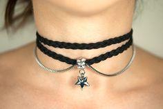 Black braided suede cord choker Stainless steel star by Beadelixus