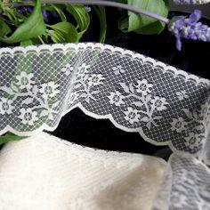 "2¼"" Ivory Floral Scalloped Lace Trim | Lace Trim Scalloped Lace, Lace Design, Floral Lace, Lace Trim, 21st, Ivory, Pretty, Pattern, Color"