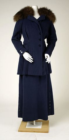 Suit Design House: Callot Soeurs Date: 1917 Culture: French Medium: wool, fur Accession Number: C.I.51.97.25a, b