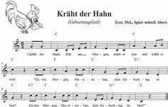 Kinderlied Noten Kräht der Hahn