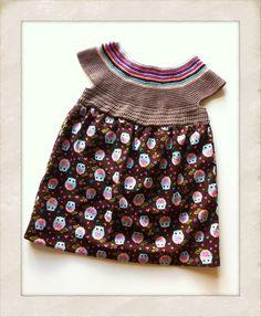 Kjole med hæklet overdel og ugler - Handmade by LS www.lisbeth-s.dk