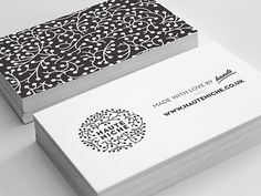 HauteNiche black/white logo + business card by Martin Gross.I would love something like this for Mantra Business cards Graphic Design Branding, Corporate Design, Identity Design, Graphic Design Illustration, Typography Design, Business Branding, Business Card Logo, Business Card Design, Cool Business Cards