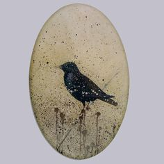 "Painting - Oval canvas with Mozart's Starling - ""Date of Birth"" 2001 -  Peter Korver 