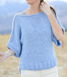 Free Knitting Pattern for Easy Quick Tee Pullover - The designer Mama in a Stitch says that this short sleeved sweater is as simple as it gets. Knit two pieces of stockinette with a pretty rib hem and seam. Quick knit holding two strands of worsted yarn together. S, M, L, XL.