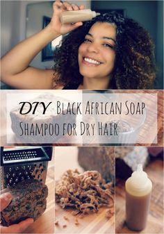 This DIY Black African Soap Shampoo for Dry Hair is a great recipe. I use something very similar once or twice per month as a clarifying shampoo. In between I co-wash. - Shampoo - Ideas of Shampoo Black Hair Shampoo, Natural Hair Shampoo, Shampoo For Curly Hair, Dry Hair, Natural Hair Care, Natural Hair Styles, Natural Skin, Diy Hair Growth Shampoo, How To Make Shampoo