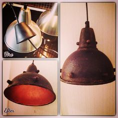 """Love this transformation of a stainless steel lampshade by Ulla-Britt Malm in Sweden – thanks for sharing Ulla-Britt. """"Annie Sloan Graphite, some Olive, Primer Red, Barcelona Orange, Dark Wax and copper…"""""""