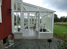 Metal Building Homes, Building A House, Sunroom Kits, White Porch, Sweden House, Home Greenhouse, Garden Doors, House Extensions, Modern House Plans