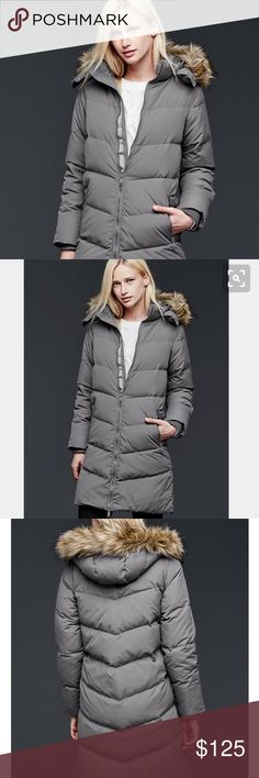 """gap   chevron down puffer jacket, grey. brand new with tags. i could not love this jacket any more, 💕 but i need it in petite. 😩 it's perfect...so warm and the straight, slim cut is so flattering. the color is a gorgeous grey (technically called """"black moss"""") with a faux fur hood. please see additional details above. best jacket gap has made in years!!!  if you have this same exact jacket or have seen it in an XSP, please let me know. 😁  🚭 smoke-free home.  💚 reasonable offers welcome…"""
