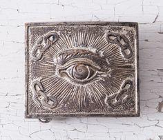 Antique Masonic Belt Buckle -  All Seeing Eye F LT - Rare 1890's Oddfellows Buckle. via Etsy.