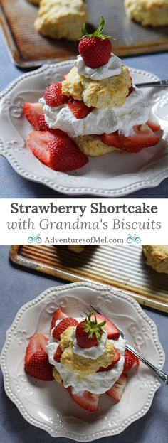 Strawberry Shortcake made with a cream cheese whipped cream, Grandma's biscuits, and juicy red strawberries! Print the recipe for Old-Fashioned Strawberry Shortcake with Grandma's Biscuits.
